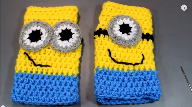 Crochet Minions Fingerless Gloves