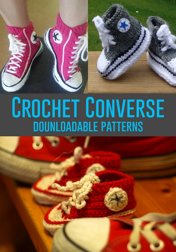 Crochet Patterns Video Tutorial : Crochet Converse Shoes for Babies and Adults! Free Patterns + Video ...