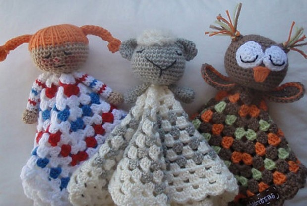 Crochet Lovey Blankets: Owl, Kitten, Bunny, Teddy Bear and