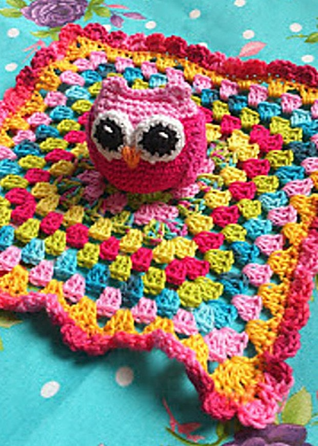 Super Cute Owl Lovey Blanket For Babies Free Crochet Pattern