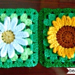 crochet sunflower and daisy granny square