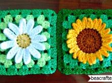 crochet sunflower and daisy granny square
