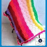 Crochet Basket Weave Rainbow Baby Blanket