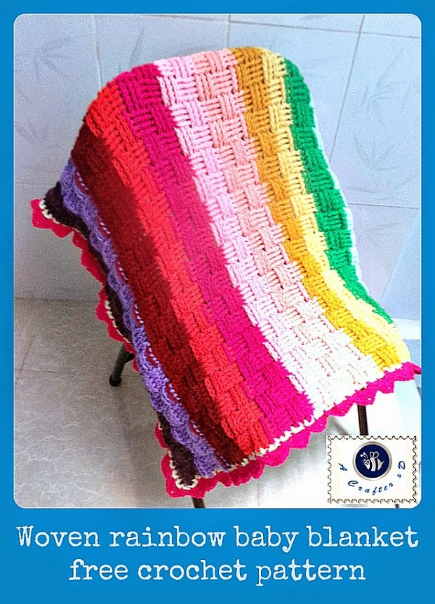 Crochet Basket Weave Rainbow Baby Blanket