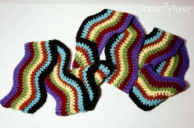 Beautiful Chevron Rainbow Crochet Scarf Free Pattern And Photo