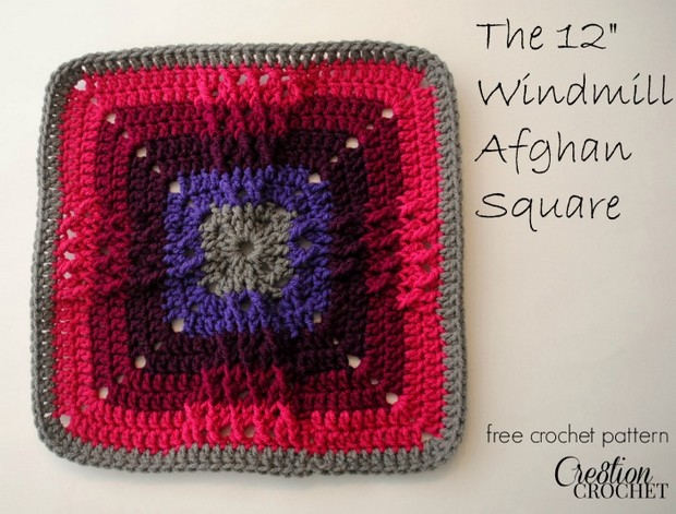 Crochet Windmill Afghan Square