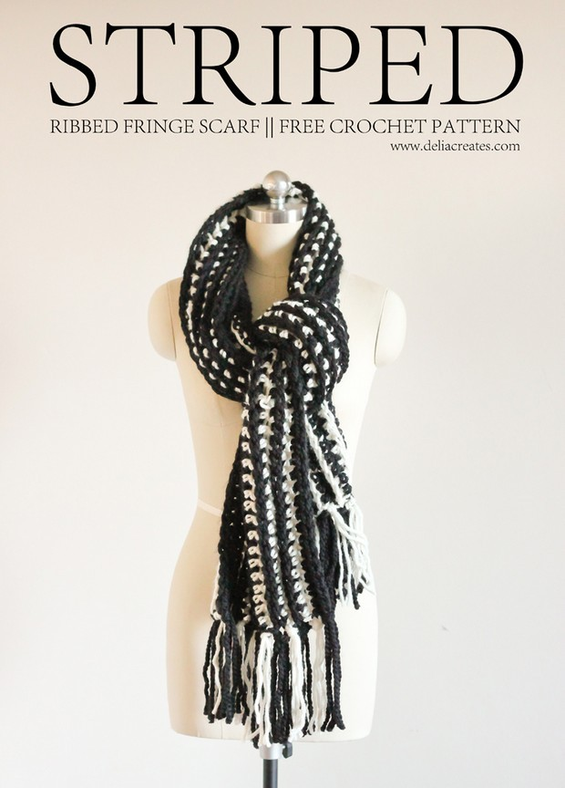 Crochet Striped Scarf