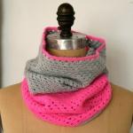 Two color crochet cowl
