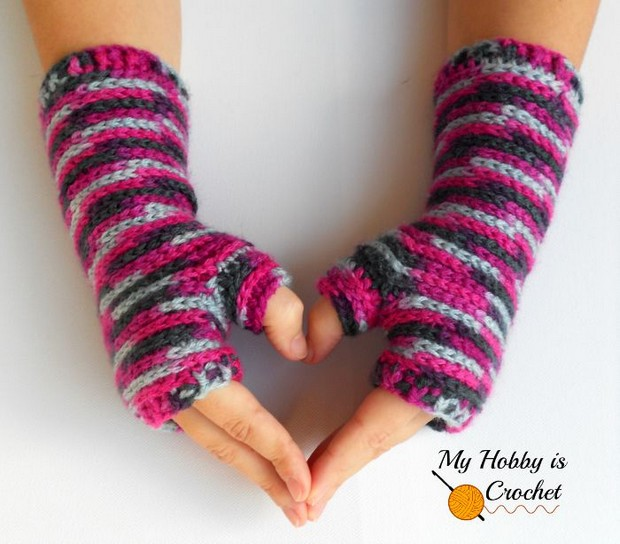 Colorful Crochet Fingerless Gloves Free Pattern