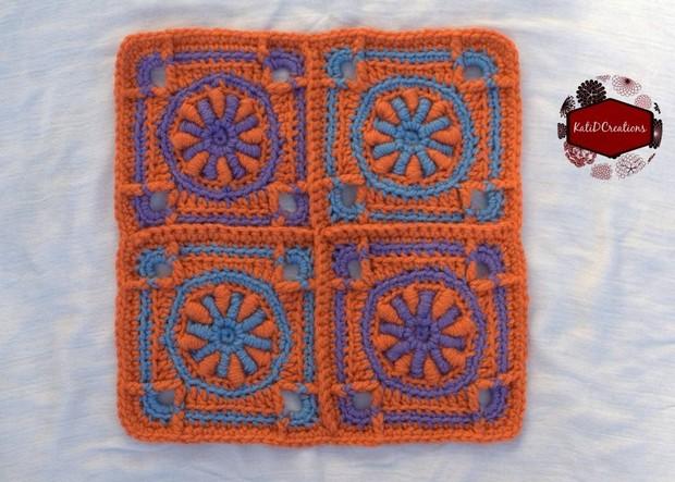 Bullion Stitch Crochet Square