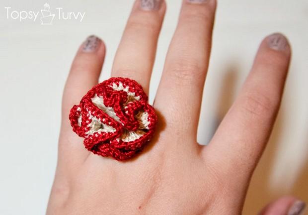 Crochet Rose Ring