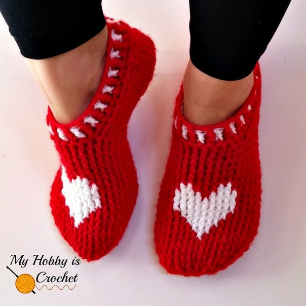 Crochet Heart Slippers