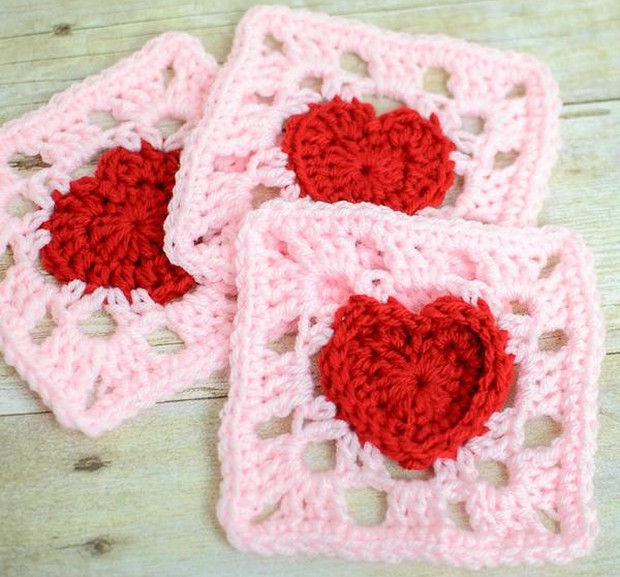 Granny Square with Heart