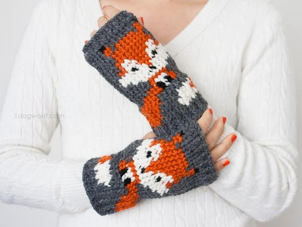 Crochet Fox Fingerless Gloves