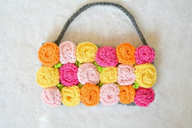 Crochet Rose purse