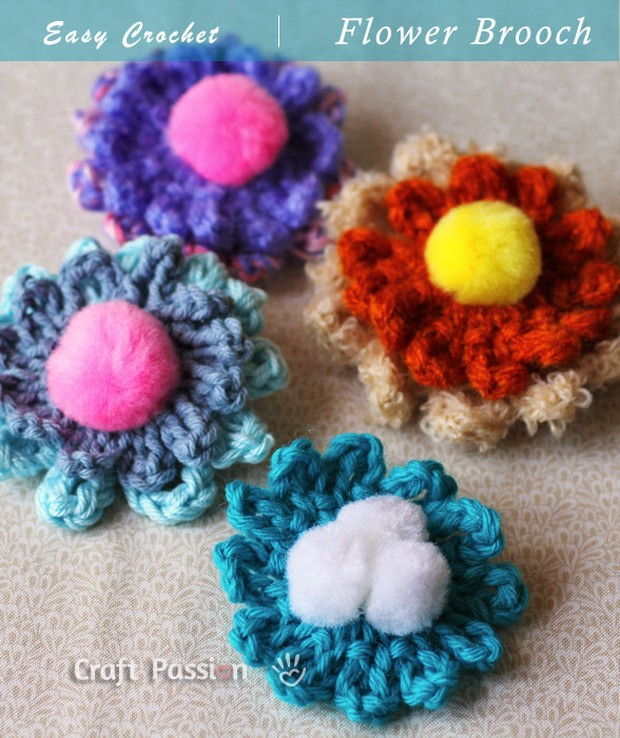 Amigurumi Flower Tutorial : Easy and Beautiful Crochet Flower Brooch Free Pattern!