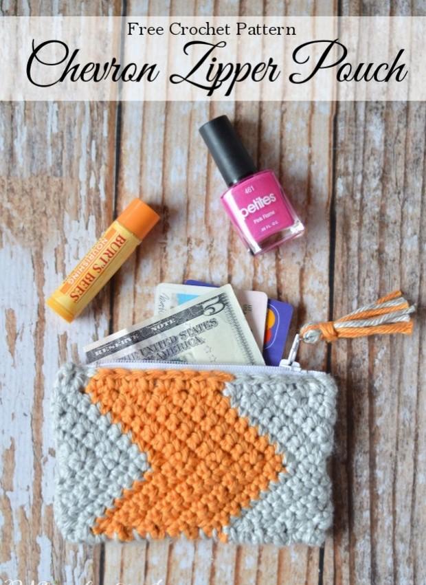 Crochet Chevron Pouch