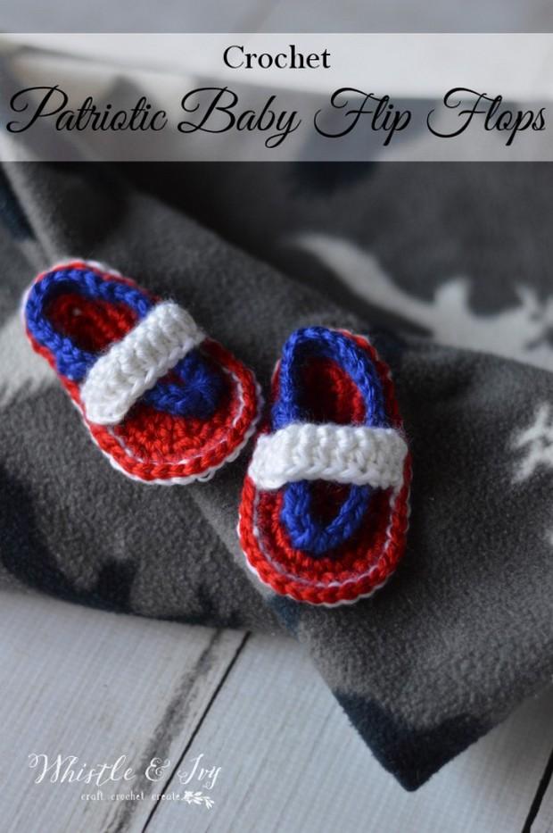 Crochet Patriotic Flip Flops for Babies