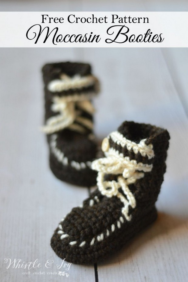 Crochet moccasin booties