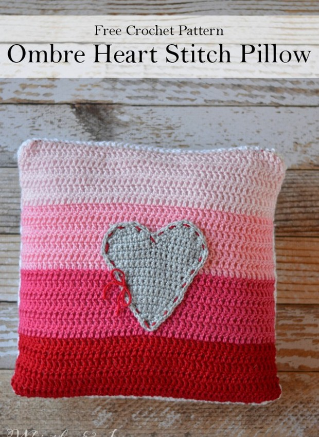Crochet pillow with _heart