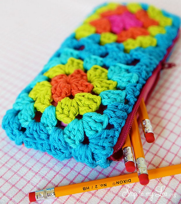 Crochet Granny Square Zipper Pouch for Pencils