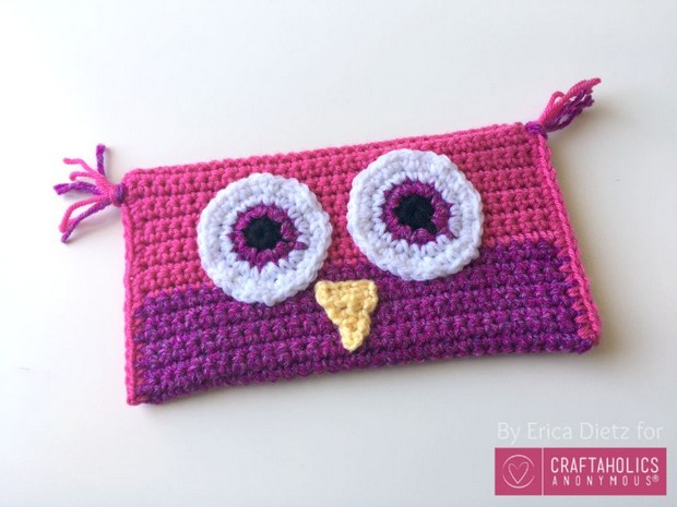 Crochet owl pencil bag