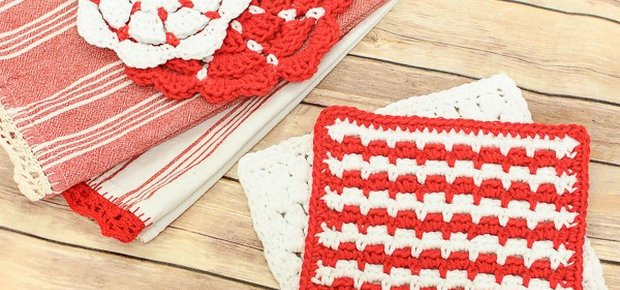 crochet cluster stitch dishcloth