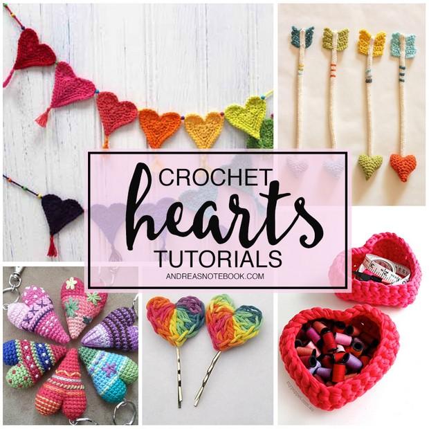 Crochet hearts tutorials roundup