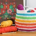 Crochet rainbow basket