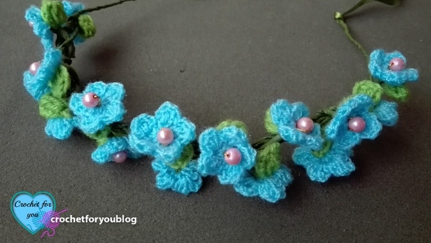 crochet flower hairband