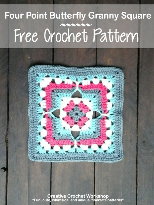 Beautiful Crochet Butterfly Granny Square Free Pattern