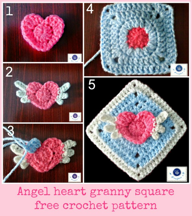 Beautiful Angel Heart Granny Square ? Free Crochet Pattern!