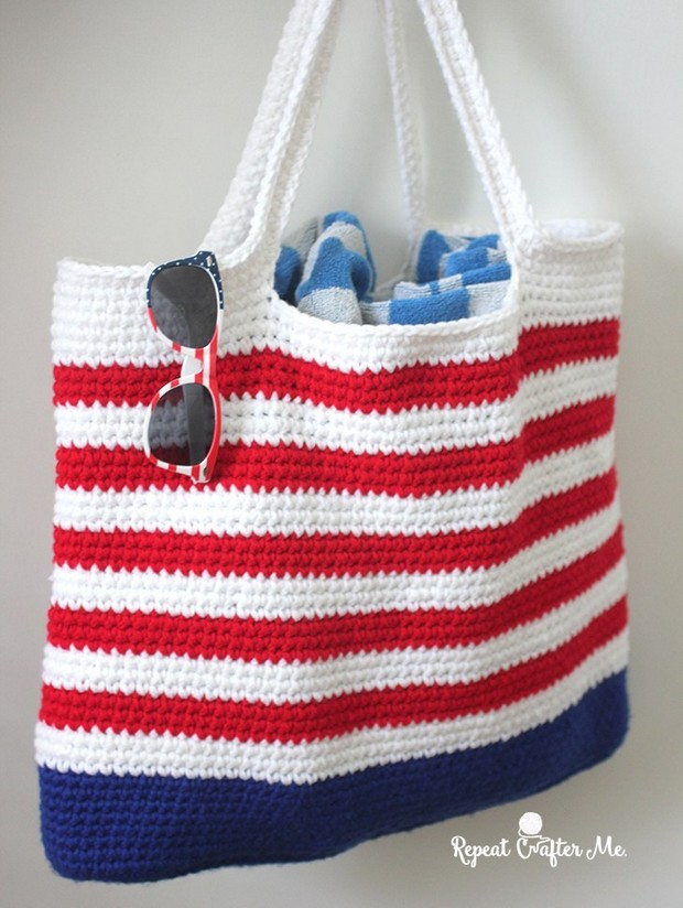 Crochet Patriotic Tote Bag