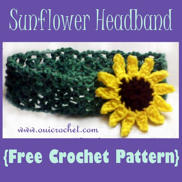 Crochet sunflower headband