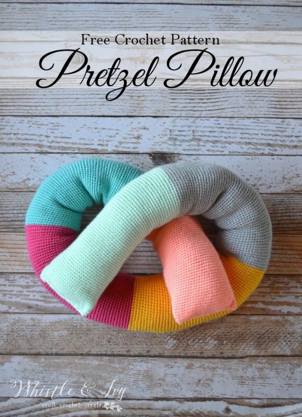 crochet pretzel pillow