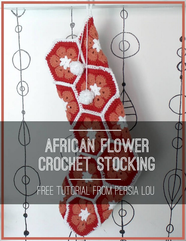 Beautiful Crochet African Flower Christmas Stocking Free Photo