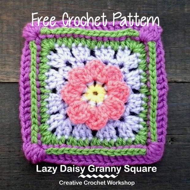Beautiful Crochet Granny Square with a Flower ? Free Pattern!