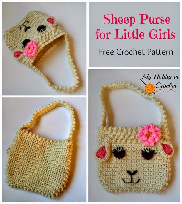 Crochet sheep purse