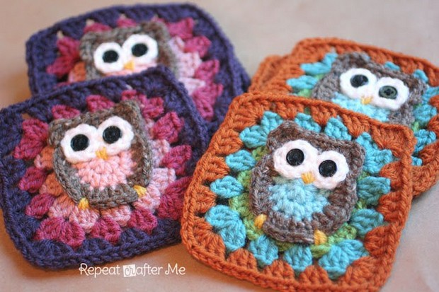 crochet owl granny square