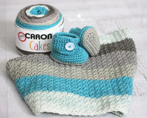 Crochet Baby Booties and Blanket