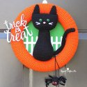 Crochet Black Cat Halloween Wreath