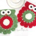 Crochet Christmas owl coaster trivet