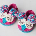 Crochet Owl Baby Booties