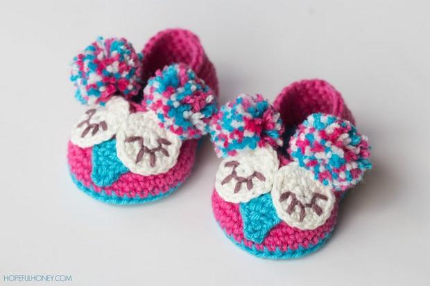 Crochet Owl Baby Booties