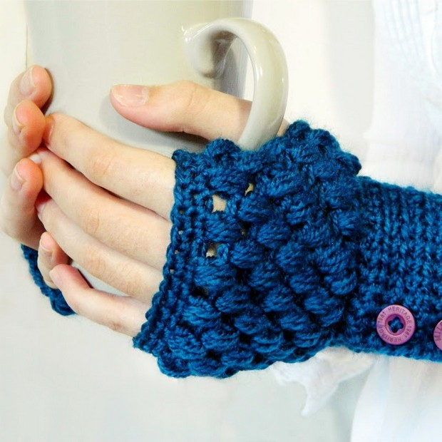 Crochet Puff Stitch Fingerless Gloves