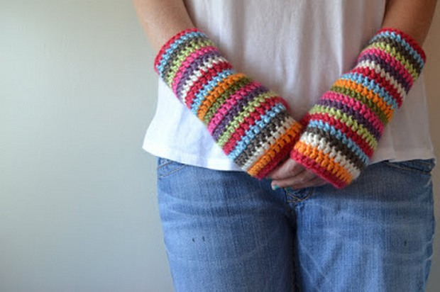 crochet striped fingerless gloves