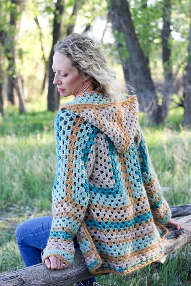 Crochet Hexagon Cardigan easy free pattern