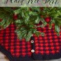 Crochet Plaid Christmas Tree Skirt