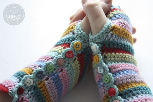 Colorful Striped Crochet Fingerless Mitts Free Pattern Photo