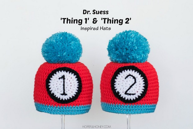 Dr Seuss Thing 1 Thing 2 Crochet Baby Hats